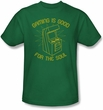 Funny Gaming T-shirt - Gaming is Good for the Soul Green Tee