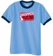 Funny Ringer T-Shirt Dropped On My Head As A Child Carolina Blue/Navy