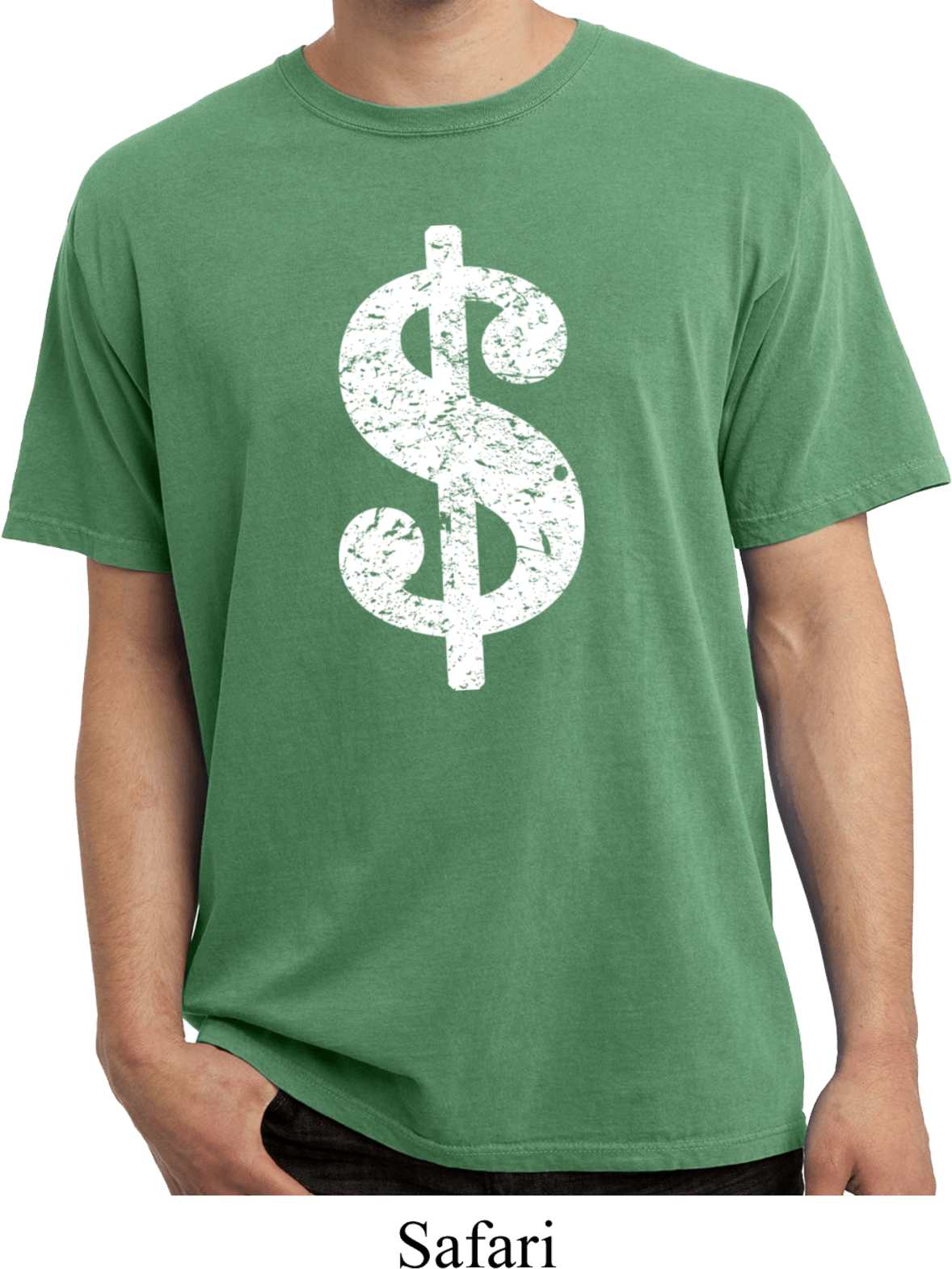 Funny shirt distressed dollar sign pigment dyed tee t for How to make a distressed shirt