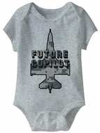 Future Co Pilot Funny Baby Romper Athletic Heather Infant Babies Creeper