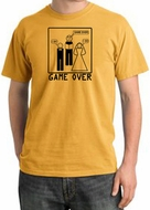 Game Over Ceremony Pigment Dyed Mustard T-shirt - Black Print