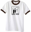 Game Over Marriage Ceremony Ringer White/Brown Tee - Black Print