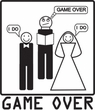 Game Over Marriage Ceremony Ringer White/Kelly Tee - Black Print