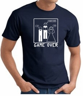 Game Over Marriage Ceremony T-shirt Funny Navy Tee - White Print