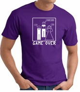 Game Over Marriage Ceremony T-shirt Funny Purple Tee - White Print