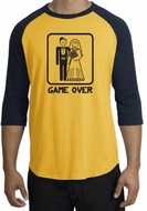 Game Over Raglan Shirt Funny Marriage Gold/Navy - Black Print