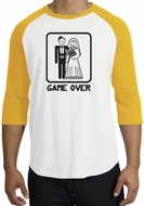 Game Over Raglan Shirt Funny Marriage White/Gold - Black Print