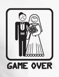 Game Over Raglan Shirt Funny Marriage White/Navy - Black Print