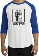 Game Over Raglan Shirt Funny Marriage White/Royal - Black Print