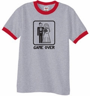 Game Over Ringer T-shirt Funny Heather Grey/Red Tee - Black Print