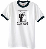 Game Over Ringer T-shirt Funny White/Black Tee - Black Print