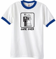 Game Over Ringer T-shirt Funny White/Royal Tee - Black Print