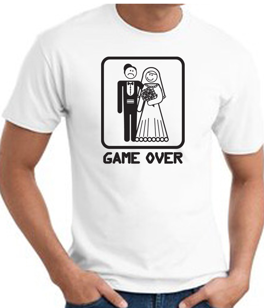 Game over t shirt funny marriage bride groom white tee for Funny getting married shirts