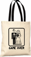 Game Over Tote Bag - Funny Married Bride and Groom Bag