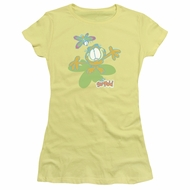 Garfield Juniors T-shirt Colorful Butterfly Yellow Tee Shirt