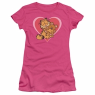 Garfield Juniors T-shirt Cute Cuddly Bear Hot Pink Tee Shirt