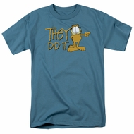 Garfield T-shirt They Did It Adult Slate Blue Tee Shirt