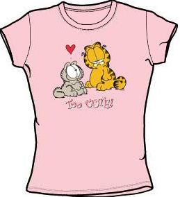 Garfield TOO CUTE Juniors Size Fitted Girly T-shirt Tee ...