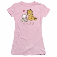 Garfield Juniors Tee Shirt Too Cute Pink T-shirt