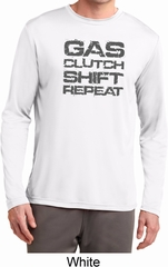 Gas Clutch Shift Repeat Grey Print Mens Dry Wicking Long Sleeve Shirt