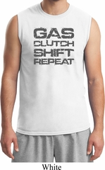 Gas Clutch Shift Repeat Grey Print Mens Muscle Shirt