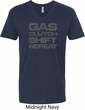 Gas Clutch Shift Repeat Grey Print Mens V-Neck Shirt