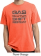 Gas Clutch Shift Repeat Grey Print Pigment Dyed Shirt