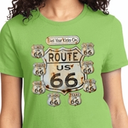 Get Your Kicks Ladies Biker Shirts