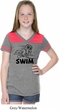 Girls Black Penguin Power Swim Football Tee