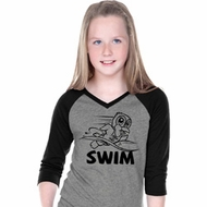 Girls Black Penguin Power Swim V-neck Raglan