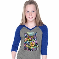 Girls Cat Tee Love Cat V-neck Raglan