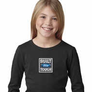 Girls Ford Shirt Built Ford Tough Small Print Long Sleeve Tee T-Shirt