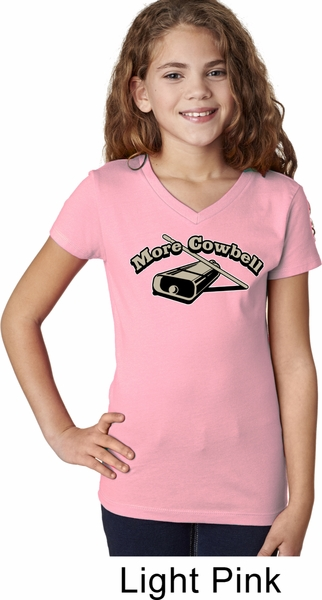 Girls Funny Shirt More Cowbell V-Neck Tee T-Shirt - More Cowbell ...