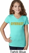 Girls Gymnastics Shirt Gold Shimmer Gymnast V-Neck Tee T-Shirt