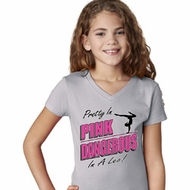 Girls Gymnastics Shirt Pretty in Pink V-Neck Tee T-Shirt