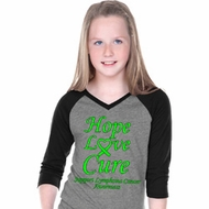 Girls Lymphoma Cancer Hope Love Cure V-neck Raglan