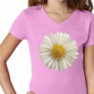 Girls Shirt White Daisy V-Neck Tee T-Shirt