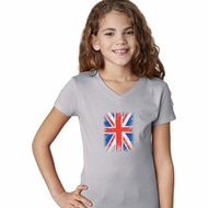 Girls UK Flag Shirt Union Jack Small V-Neck Tee T-Shirt
