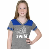 Girls White Penguin Power Swim Football Tee