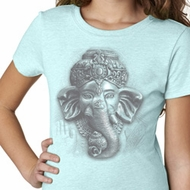 Girls Yoga Shirt 3D Ganesha Lights Tee T-Shirt