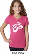 Girls Yoga Shirt Brushstroke Aum V-Neck Tee T-Shirt
