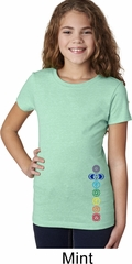 Girls Yoga Shirt Colored Chakras Bottom Print Tee T-Shirt