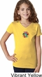 Girls Yoga Shirt Hippie Sun Patch Middle Print V-Neck Tee T-Shirt