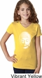 Girls Yoga Shirt Little Buddha Head V-Neck Tee T-Shirt