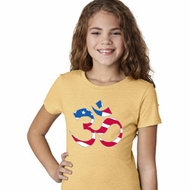 Girls Yoga Shirt Patriotic Om Tee T-Shirt