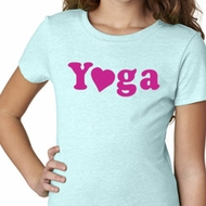 Girls Yoga Shirt Yoga Heart Neon Tee T-Shirt