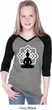 Girls Yoga Tee Buddha Lotus Pose V-neck Raglan
