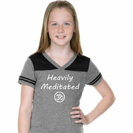 Girls Yoga Tee Heavily Meditated with OM Football Shirt