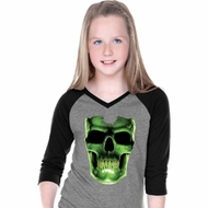 Glow Bones Girls Three Quarter Sleeve V-Neck Raglan Shirt