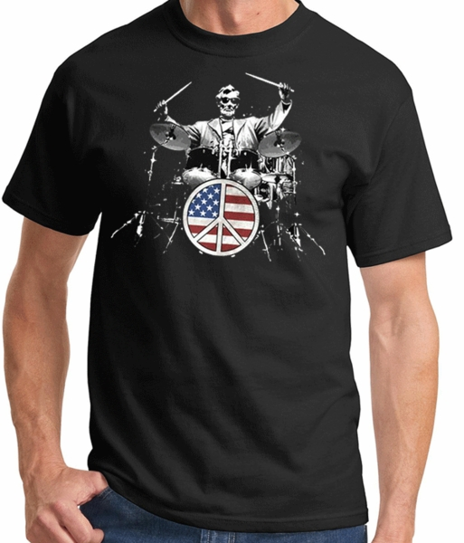 Abe Lincoln Rocks Adult T-shirt - Patriotic Drummer Tee - American ... 2d94275cca4a